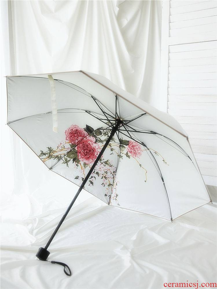 Artisan tea mountain flower fragrance sunshade summer digital printing opaque double double umbrella amphibious thirty percent of women