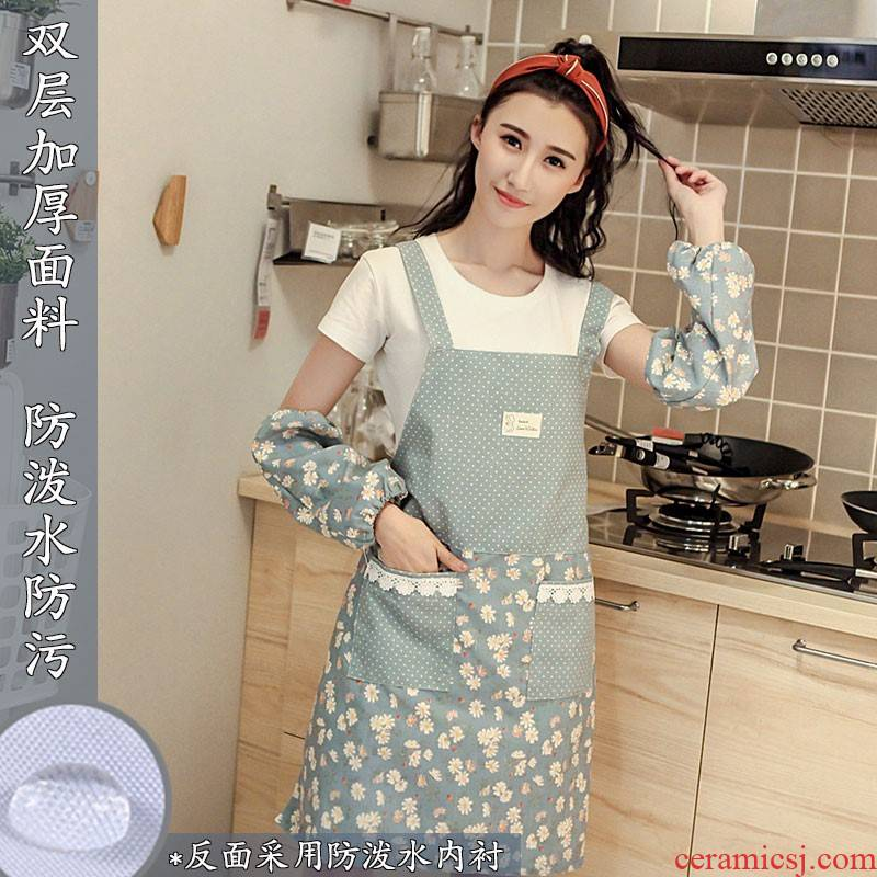 Apron beautiful kitchen waterproof and oil summer style milk tea shop overalls ms summer Apron fashionable household han edition
