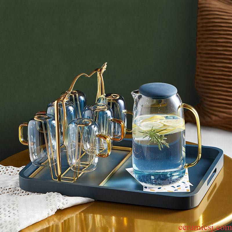 Nordic light key-2 luxury glass suits for the family sitting room temperature kettle pot cup cup cup with tray package