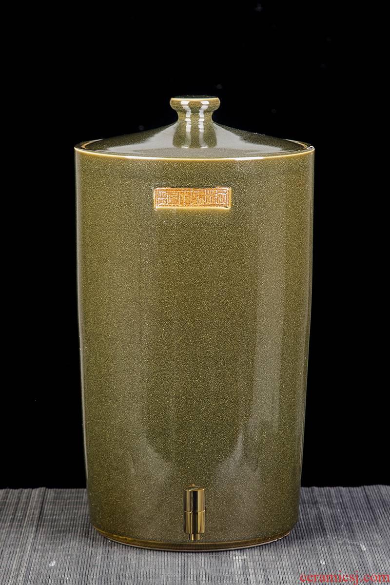Jingdezhen ceramic tank household storage tank 10 20 jins 30 jins 50 kg 100 jins jars cylinder with cover