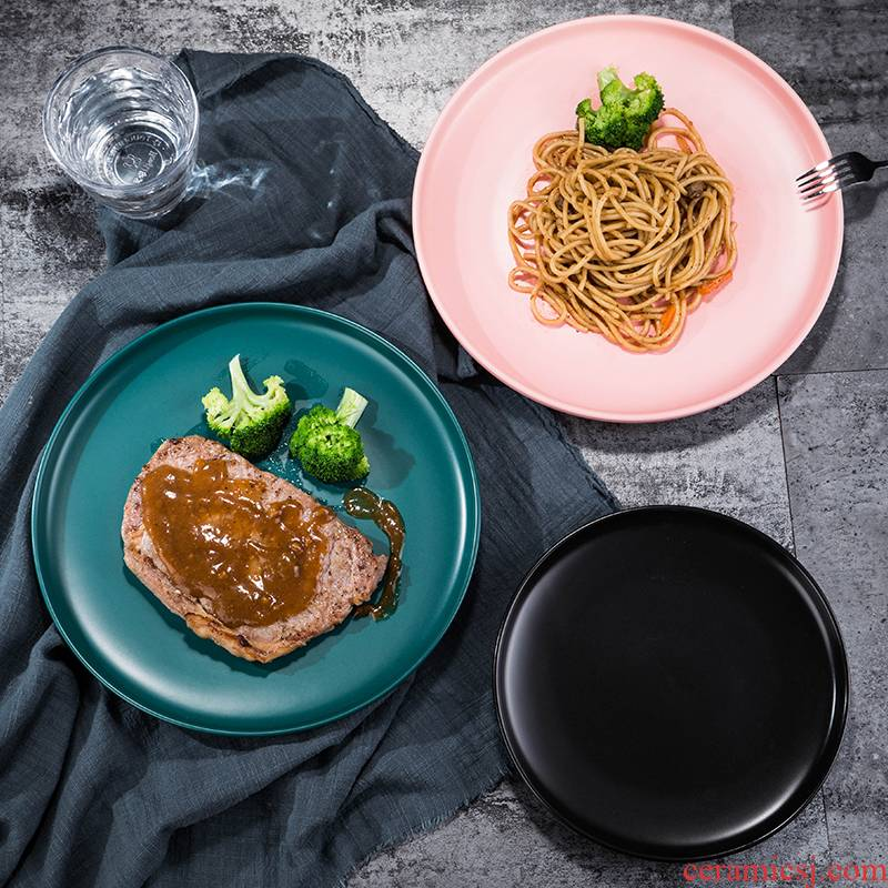Chinese network red Nordic dessert plate salad dinner plate ceramic SaPan steak dish plates ins wind