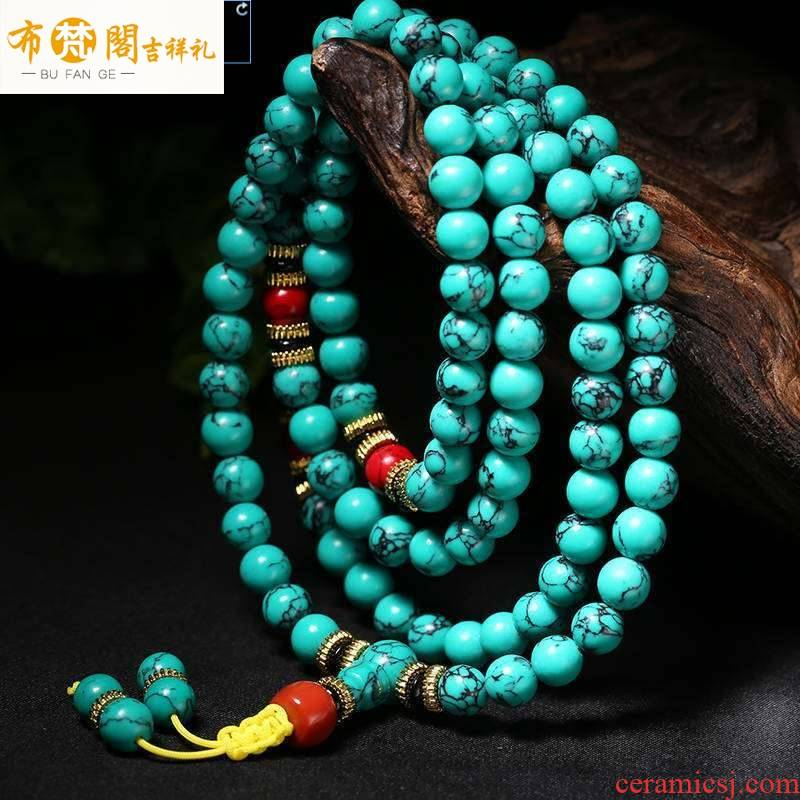 Natural turquoise bracelets, 108 Natural high porcelain carved turquoise blue bracelets style antique hoard of men and women
