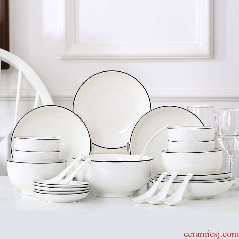 Garland Nordic I and contracted tableware suit home dishes suit 12 pieces 6 people ceramic bowl dish couples