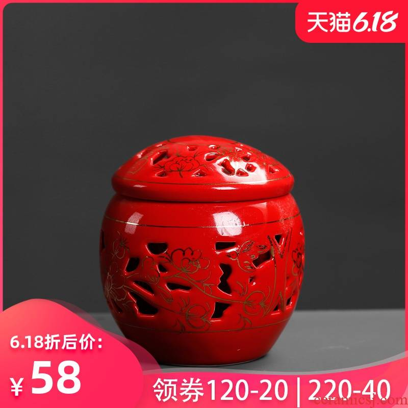 Jade porcelain red tea pot of Chinese small mini contracted double seal by patterns receives portable ceramic household