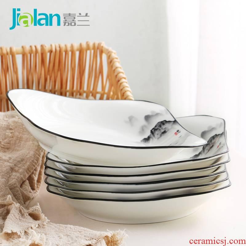 Garland glair pottery and porcelain plate ipads porcelain dish plate dumplings plate combination suit six square FanPan deep plate