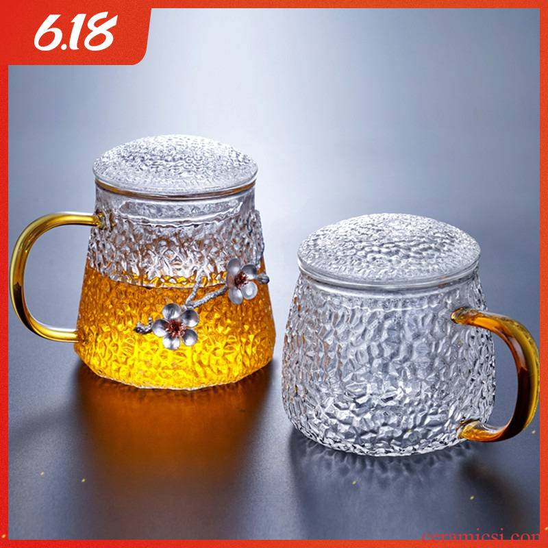 Japanese hammer office glass cup home take water cup three cups of tea, green tea cup filter tea cup