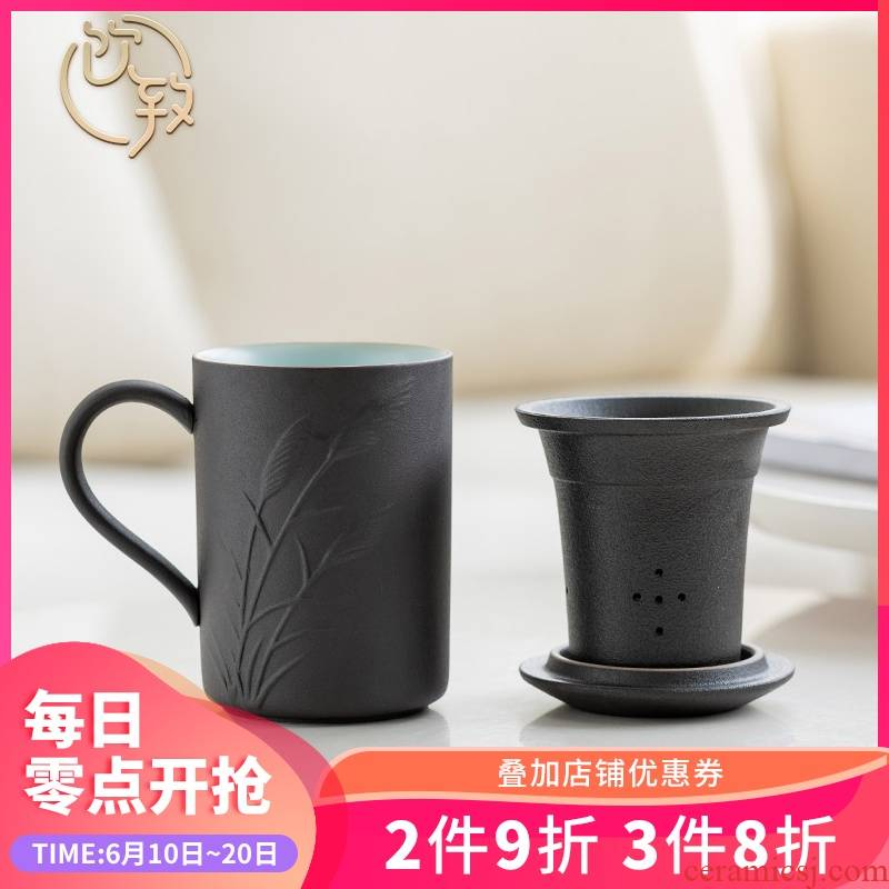 Ultimately responds to filter cup of black tea separator with restoring ancient ways to make tea with cover glass ceramic mesh mark cup