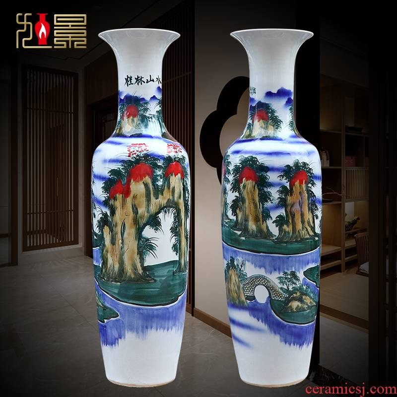 Jingdezhen hand - made scenery ceramic floor big vase European - style home sitting room flower arranging hotel furnishing articles gifts decoration