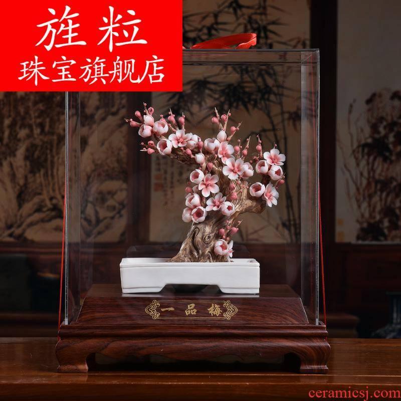 Bm name plum blossom put bloom porcelain its art ceramics handicraft Chinese penjing yipin mei D28-008
