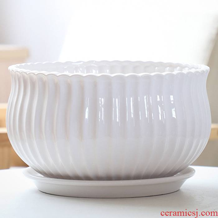 Flowerpot ceramic large oversized with tray was special offer a clearance household white contracted more than other meat creative flower pot