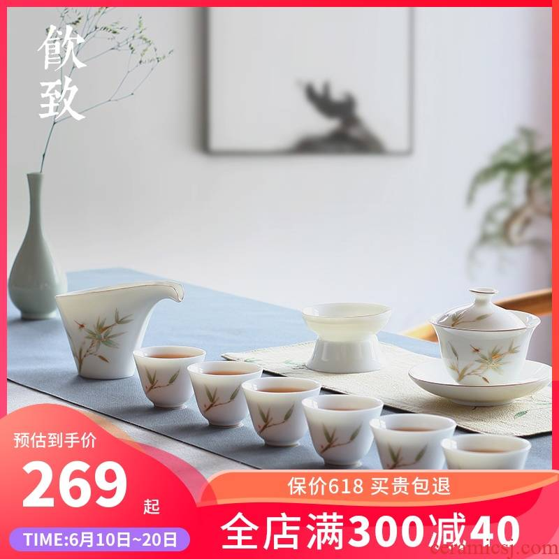 Ultimately responds to dehua white porcelain tea set tureen the set of I and contracted household ceramics kung fu tea set a complete set of gift box