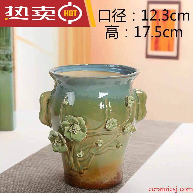 Meaty plant coarse pottery flowerpot ceramic element restoring ancient ways to burn violet arenaceous household creative old running the size contracted specials