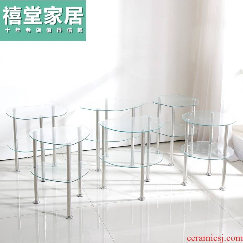 Contracted and I tempered glass table what tea table of sofa side GuiJiao several mini table of bedroom the head of a bed