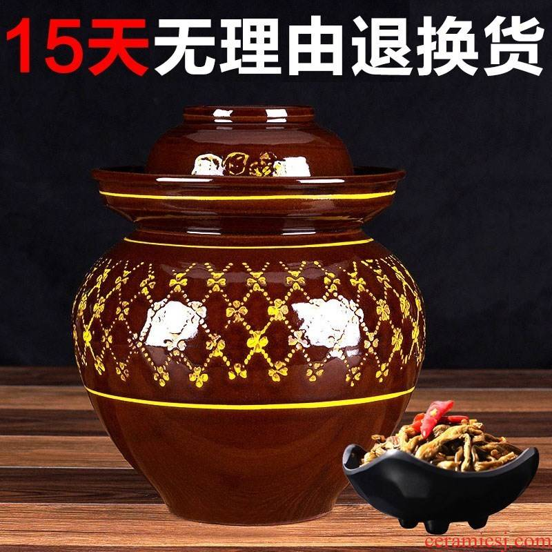 Sichuan pickle jar ceramic small household pickles earthenware cylinder upset sauerkraut seal pot old traditional kitchen