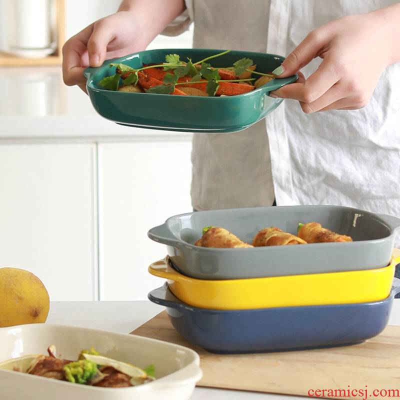 A Rectangle ceramic baking bowl pan ears cheese baked FanPan household dinner plate microwave oven baking pan