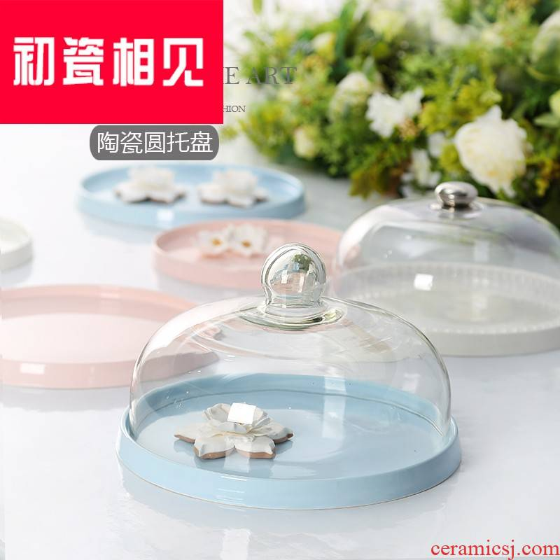 Early porcelain meet try eat dessert dribbling table cover glass cake cover display pallet European refreshments for tao
