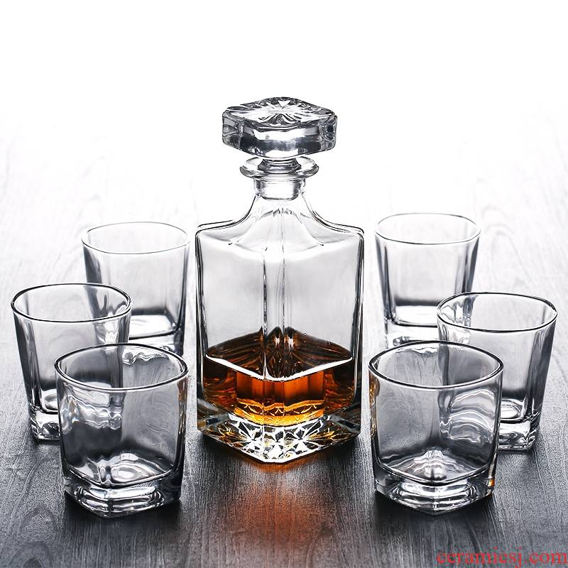 Hk xin rui lead - free glass the glass of whiskey glass beer square glass bottle wine bottles to suit