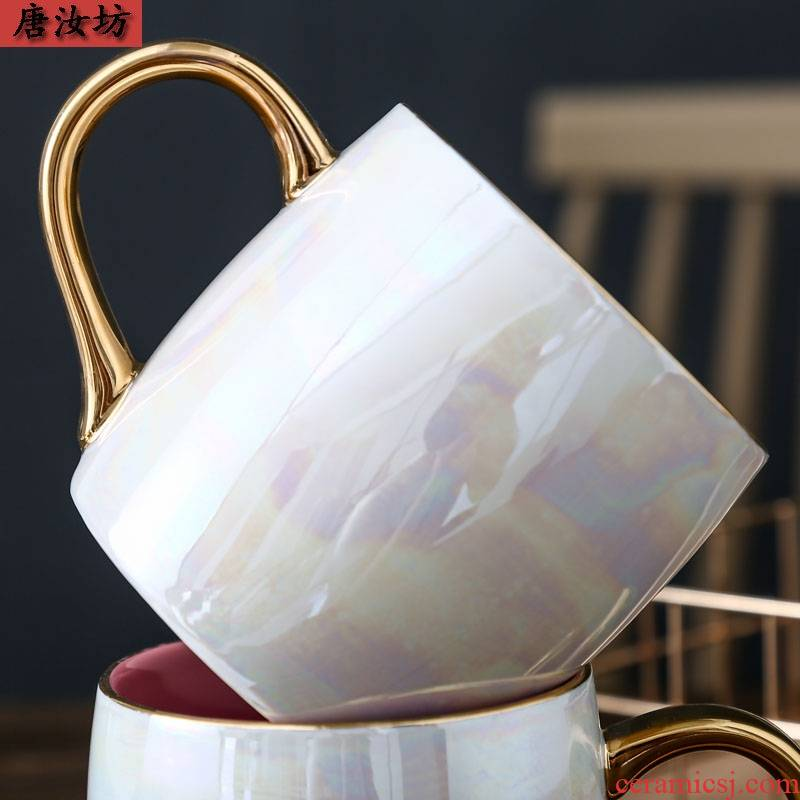 Flamingos mugs female ins pearl glaze water cup aurora brilliantly coloured ceramic coffee lovers with cover large capacity
