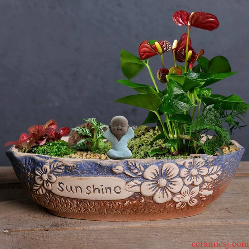 Restoring ancient ways of large diameter fleshy ceramic platter flowerpot special offer a clearance package mail fleshy flowerpot coarse pottery large green the plants