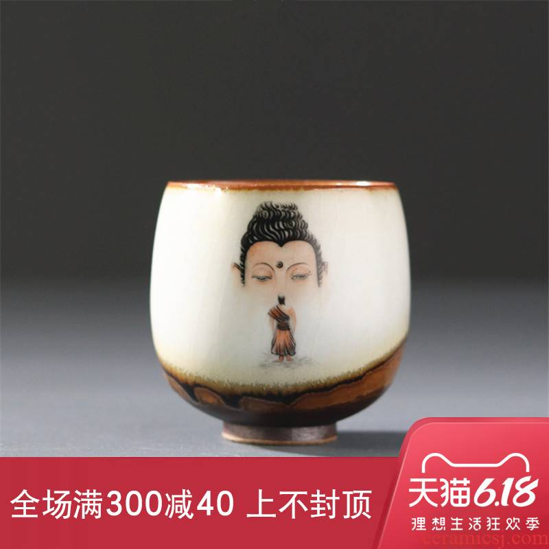 New Chinese style your up hand - made master cup large high - temperature sample tea cup zen kung fu tea set asked Buddha Buddha found creativity