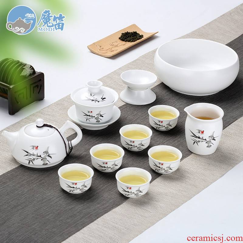 The flute up kung fu tea set suits for Chinese tureen household contracted teapot teacup dehua white porcelain office