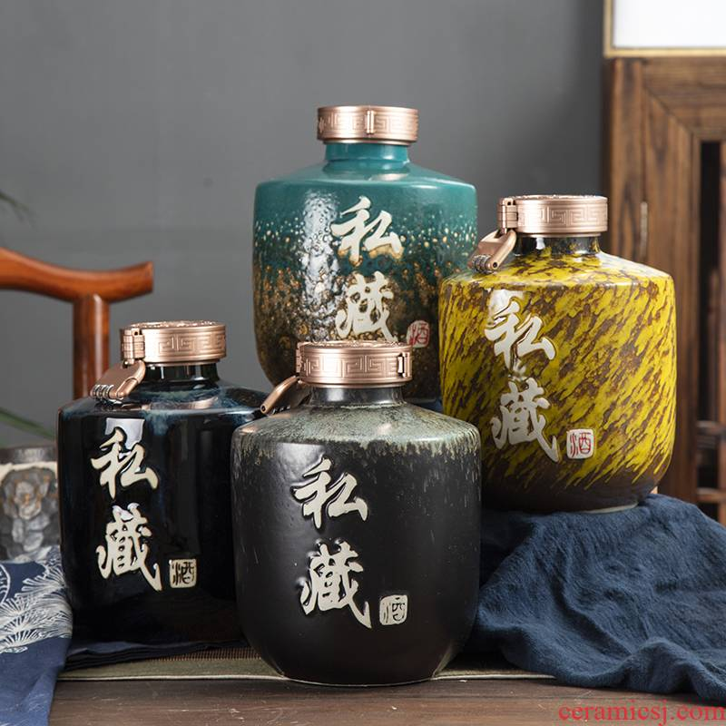 Jingdezhen ceramic jars ancient sealed jar mercifully bottle 5 jins of 10 jins to up mercifully wine jar furnishing articles