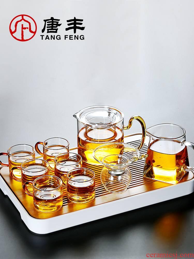 Tang Feng Japanese transparent glass tea set kit home kung fu tea cups contracted office little teapot set tea Z