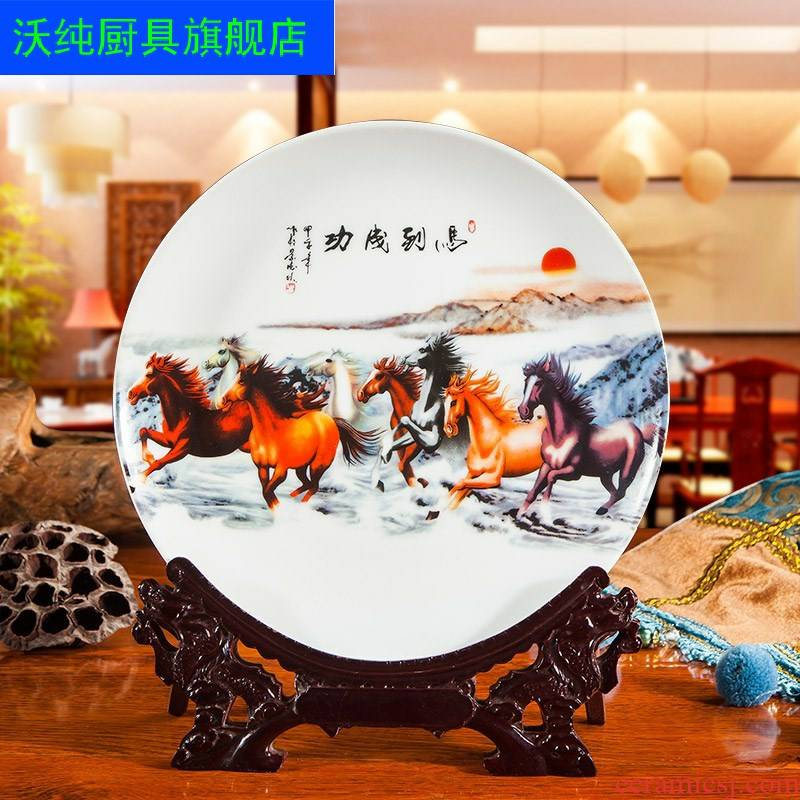 Eight steeds of jingdezhen ceramic hang dish sat dish plate TV setting wall decorative furnishing articles blue and white porcelain home act the role ofing is tasted
