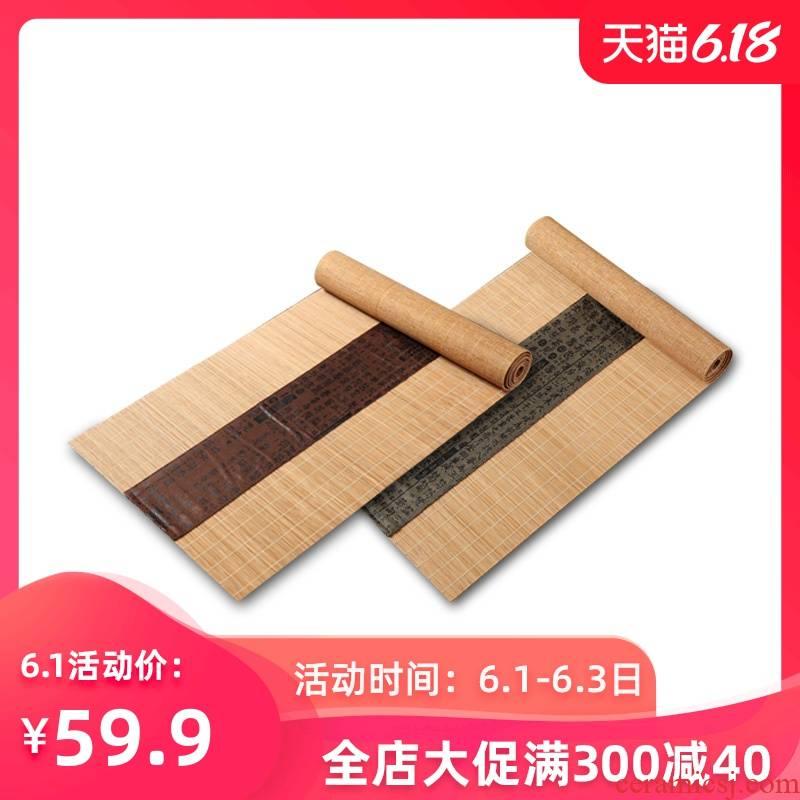 Make tea zen tea mat bamboo bamboo shade kunfu tea tea tea tea table with extended Chinese style tea table flag props