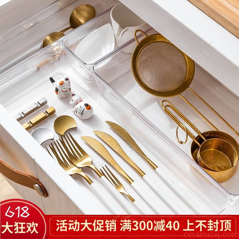 Association, longteng plastic transparent kitchen drawer boxes dressers classification the fork and knife tableware free storage box