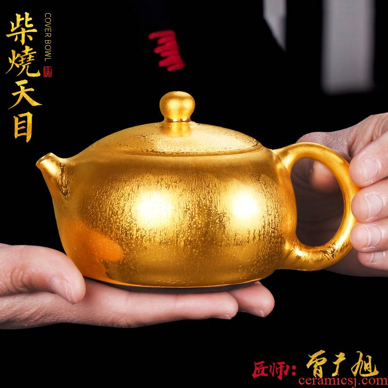 The Master artisan fairy Zeng Guangxu gold wood to build one single pot of ceramic teapot household pure manual teapot restoring ancient ways