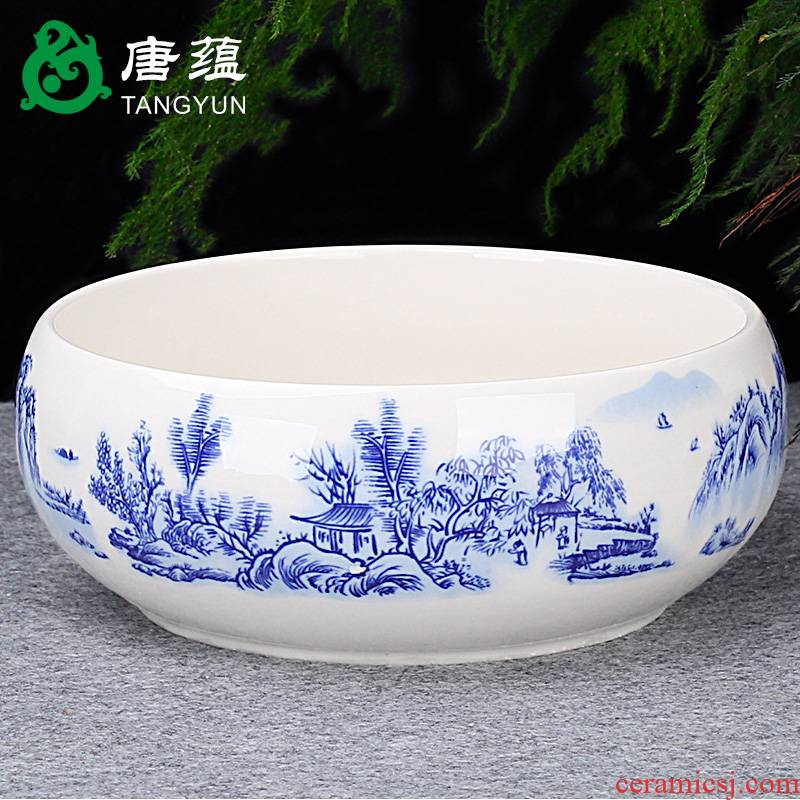 Tea wash to heavy large household writing brush washer ceramic Tea set of blue and white porcelain accessories for wash bowl Tea zero for wash with a water jar