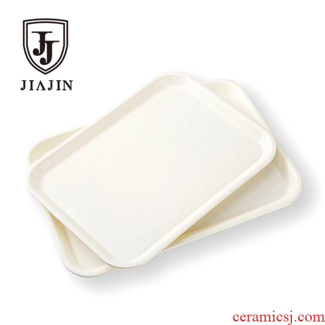 Pallet white rectangle tea tray was fast food for household water cup dish room plate of melamine plate of bread dumplings