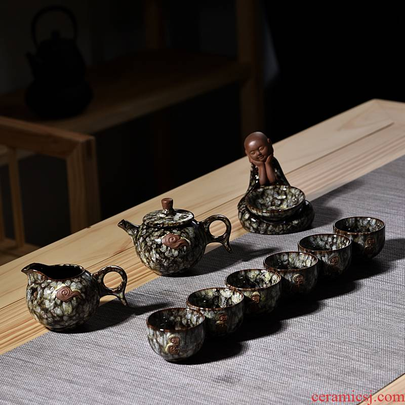 Contracted home office tea set suits for Chinese style restoring ancient ways tea kung fu tea set ceramic up teapot tea cups