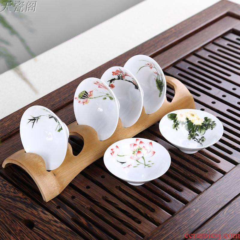 T receive the single - layer kung fu tea tea shelf rack cupholders hat to a cup of tea shelf parts at the package