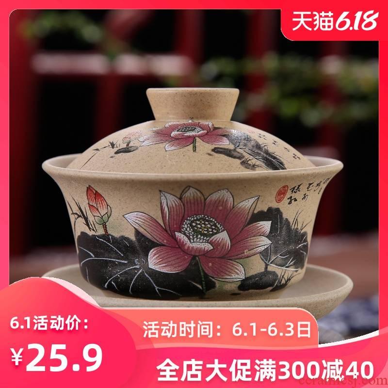 Coarse pottery retro kongfu tea tureen tea cups domestic large bowl large ceramic three cups of tea bowl of purple