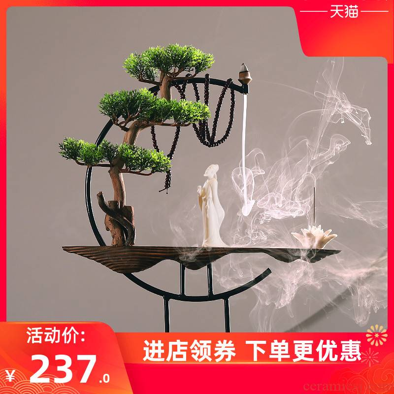 Weathered wood back xiang xiang furnace furnishing articles sandal household indoor for Buddha taking creative large incense incense buner