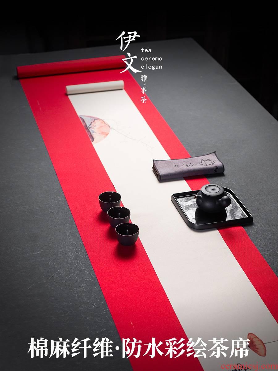 Even waterproof ceramic tea table cloth zen tea table flag high - grade cotton linen cloth art tea tray mat tea accessories