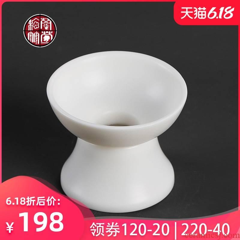 By patterns dehua high - white manual suet jade fittings tea strainer screen tea tea filter ceramic household