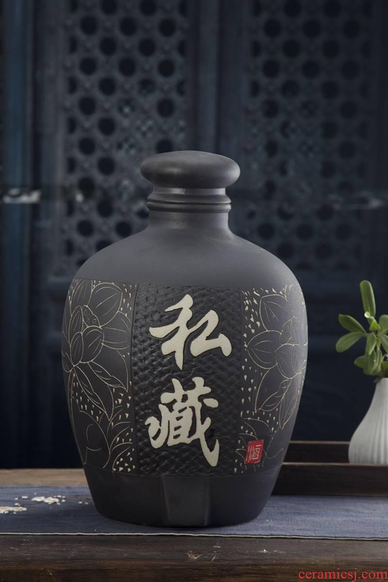 Jingdezhen ceramic jars it archaize mercifully wine 10 jins 20 jins 50 kg household seal wine jar