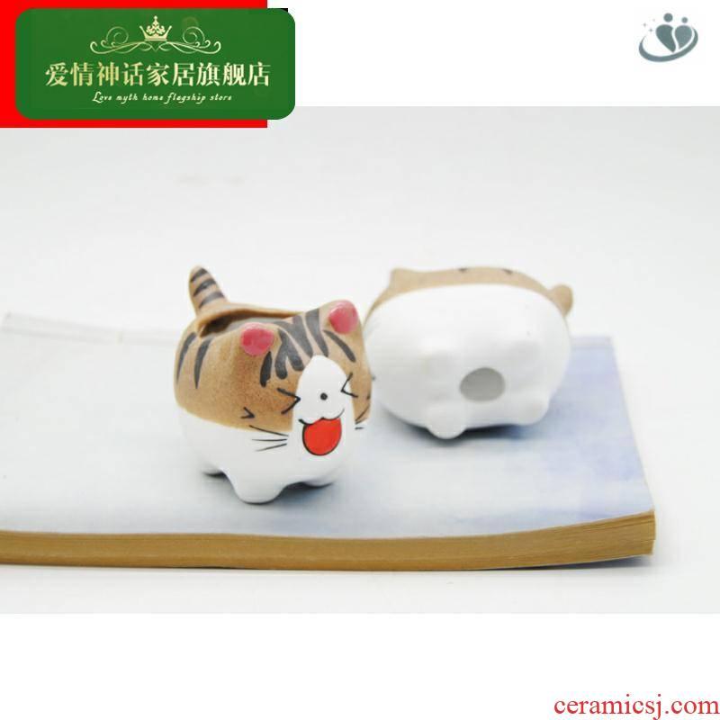 """Kitten"" sale meaty plant pot ceramic flower office furnishing articles creative vase lovely ornament"