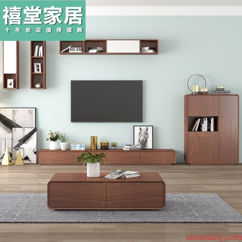 I and contracted TV ark combination telescopic tea table sitting room background wall hanging cabinet furniture Nordic size family suits for