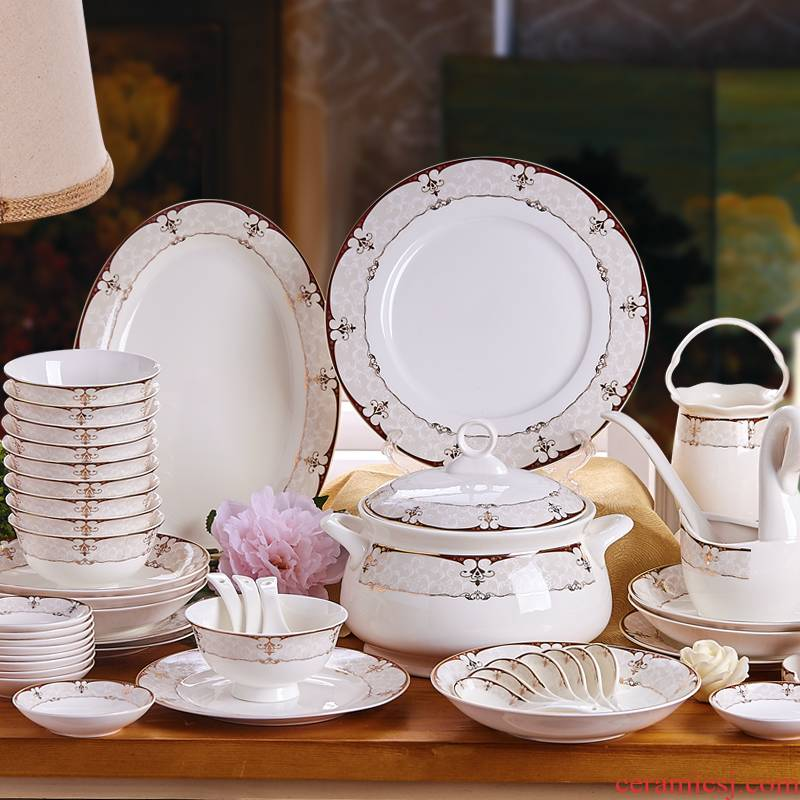 Dishes suit household ipads porcelain tableware suit of jingdezhen ceramic porcelain head of 58 high - end European Dishes