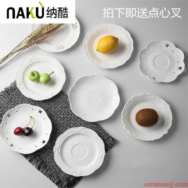 , cool European relief cake delicious food dish plate 6 inch dab of small ceramic disc flat white porcelain plate