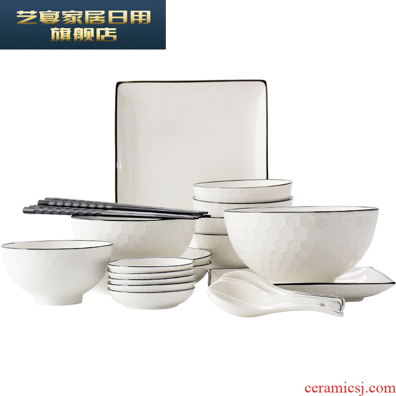 1 HMD tangshan ceramic tableware suit black glaze creative use head dishes suit household European contracted to 26