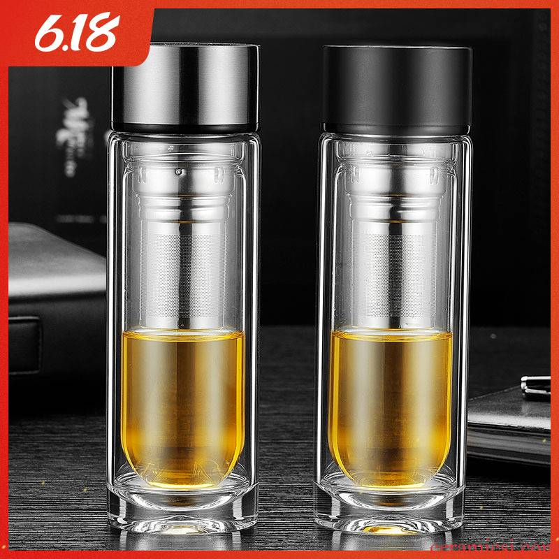 Transparent glass cup men 's portable cup high - grade men home cup with double insulation filtering software