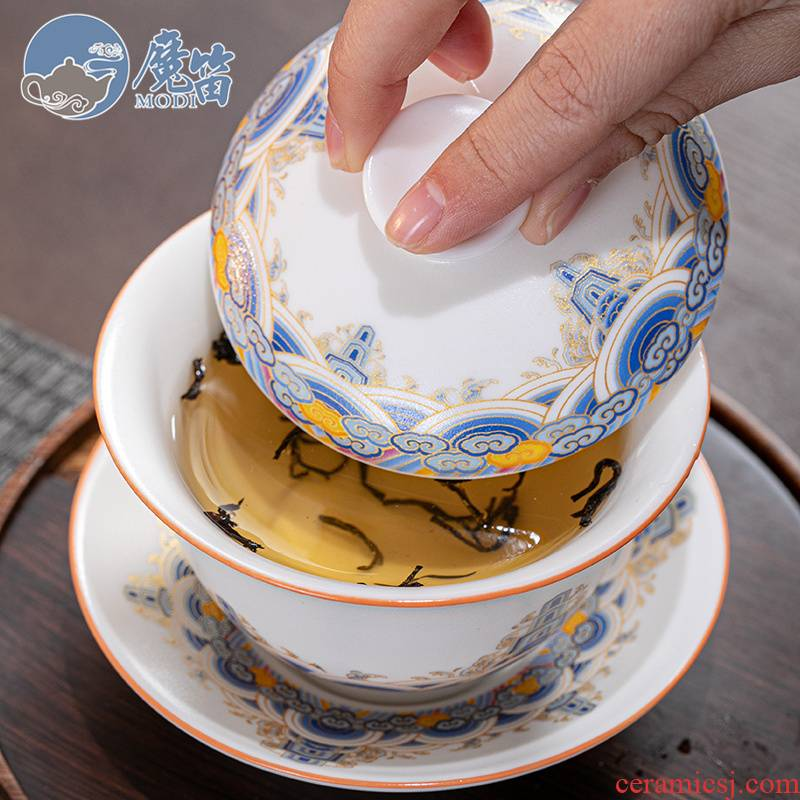The flute gold colored enamel only three tureen large single white porcelain tea cups cup pot of kung fu tea set