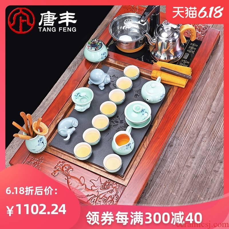 Tang Feng tea set contracted household ceramic kung fu tea pot office hua limu tea tray tea tea sea, z.