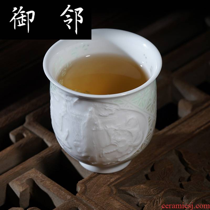 Jingdezhen tea set high half white clay ceramic knife green heap shadow carving delicate and exquisite hollow out fragrance - smelling cup masters cup