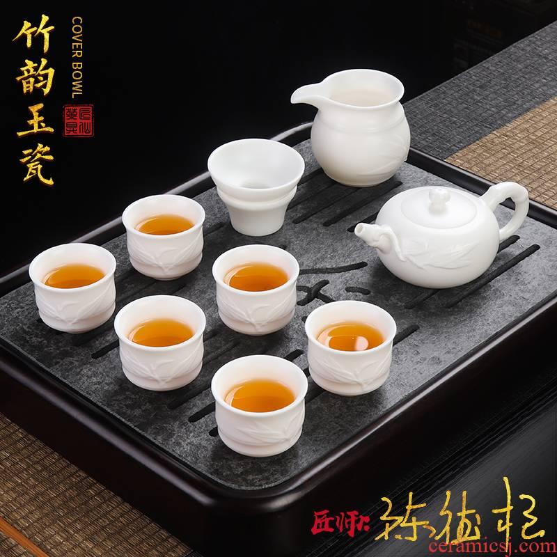 The Master artisan fairy DE - gen Chen checking ceramic kung fu tea set fat white porcelain of bamboo teapot tea cups